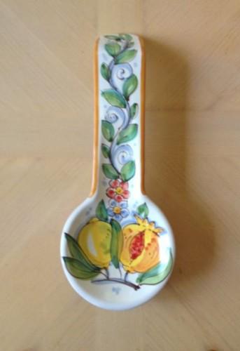Spoon Rest - Italian Ceramic Hand Painted Caltagirone, Sicily, Italy