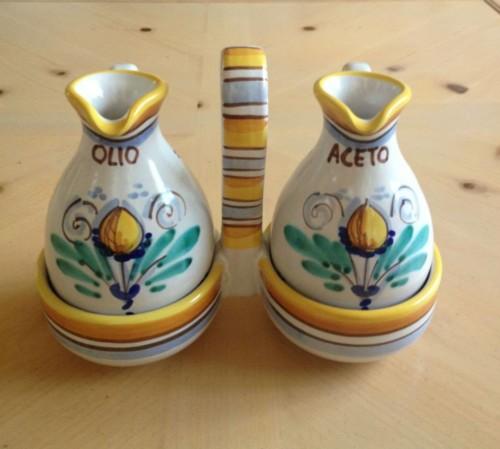 Hand Painted Lemon Italian Ceramic Olive Oil And Vinegar