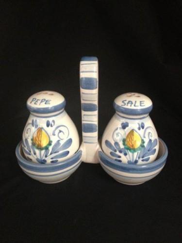 Hand Painted Blue Lemon Italian Ceramic Salt And Pepper