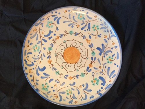 Blue Floral Hand Painted Italian Ceramic Small Round