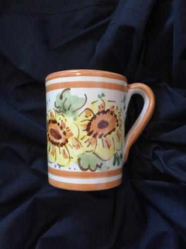 Gold Floral Hand Painted Italian Ceramic Mug Tutt E Due